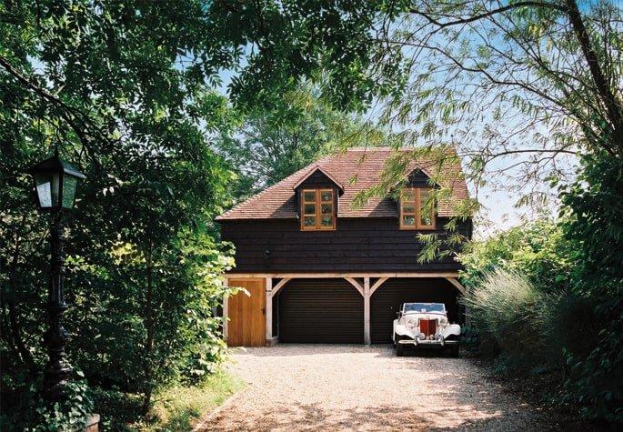 Oak framed two storey garage