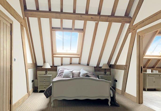 Oak framed garage second floor bedroom