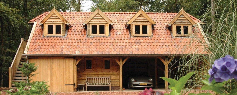 Oak frame garage with second floor