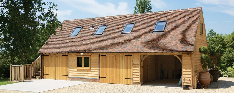 Oak framed garage with first floor living