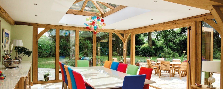 Oak framed orangery dining room