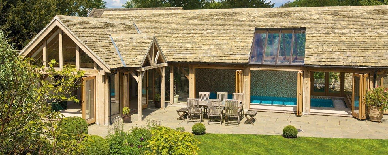 External photo of oak framed pool building