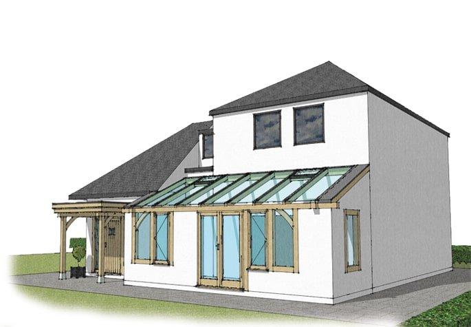 Oak framed conservatory sketch