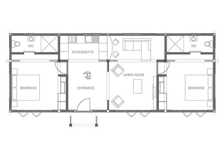 2 bed annexe floor plan