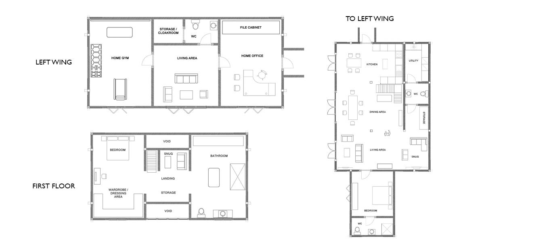 Oak framed complex floor plan
