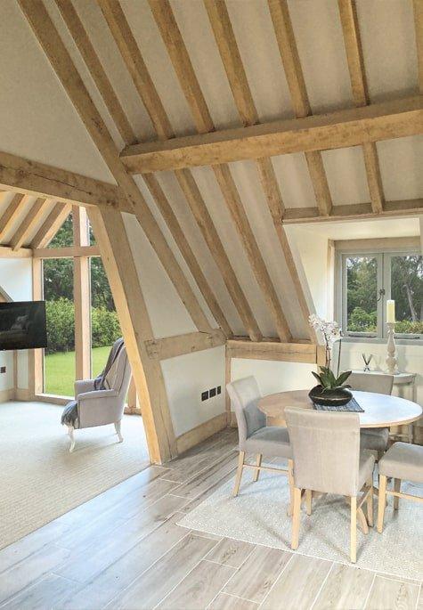 Oak framed garage upstairs internal photo