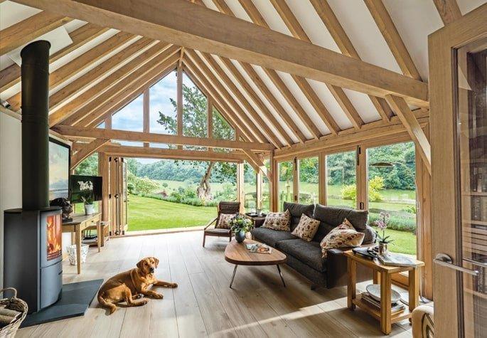Oak framed garden room extension in cotswolds