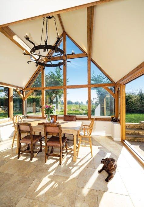 Oak framed garden room extension with glazed gable