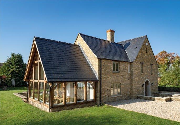 Oak framed garden room with slate roof