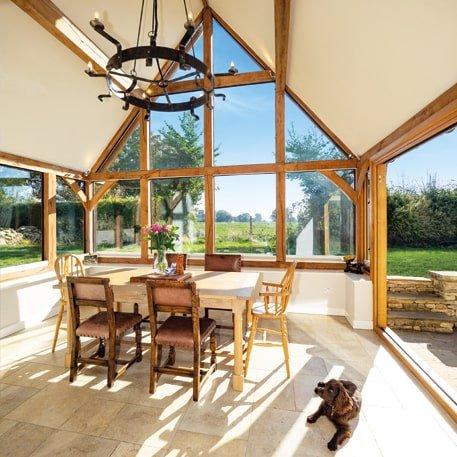Oak framed garden dining room large glazed gable