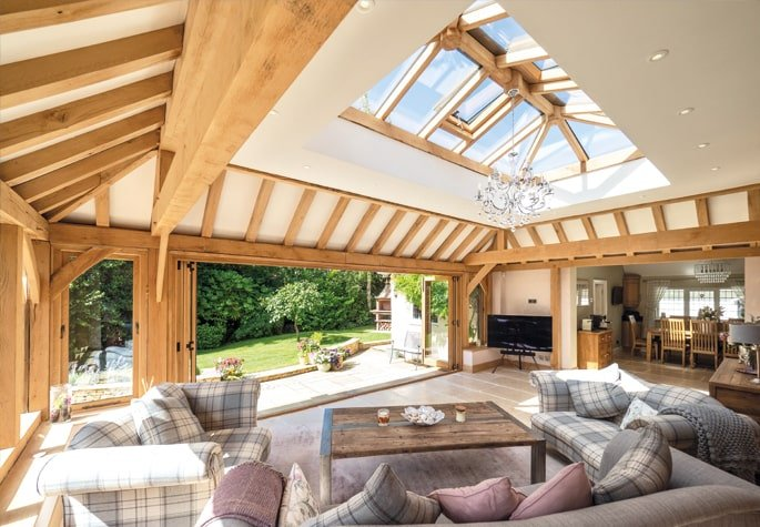 Inside oak framed orangery extension