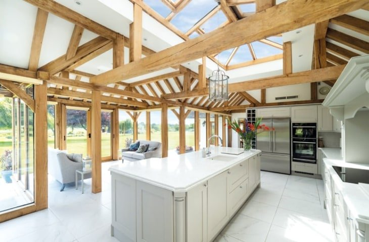 Oak framed kitchen extension with exposed rafters