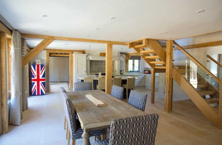 Oak framed complex open plan dining room and kitchen