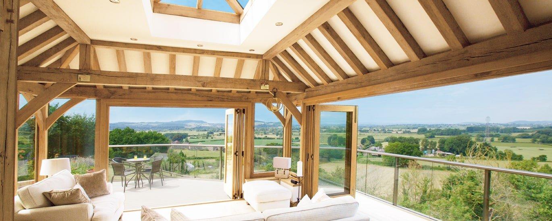 Oak framed orangery with views