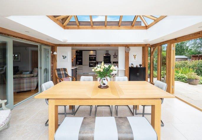 Oak framed traditional dining room orangery extension