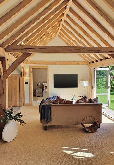 Oak framed living room with bi-folds in annexe building