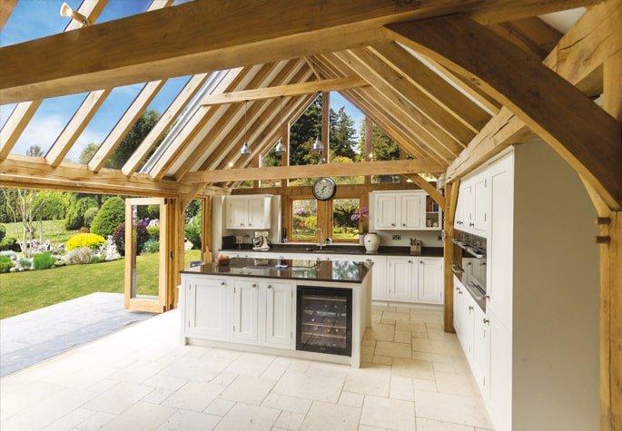 Oak framed kitchen extension with glazing panels
