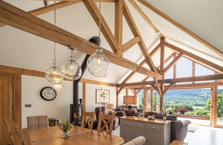 Oak framed single storey house