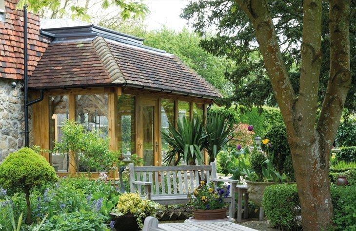 Oak framed tiles orangery extension