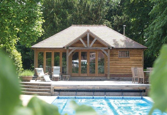 Oak framed pool house