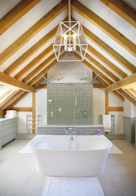 Oak framed bathroom with exposed rafters