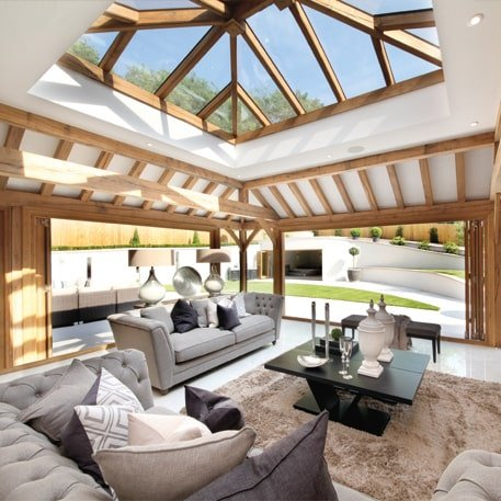 Oak framed contemporary extension with bi-folds