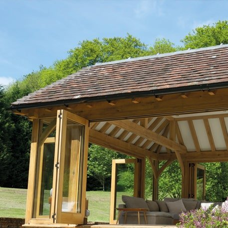 Oak framed tiled orangery extension