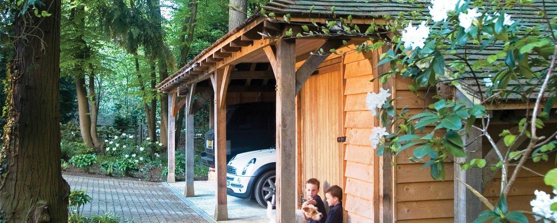 Oak framed car garage