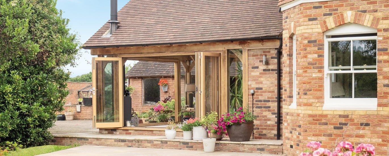 Oak framed garden extension to Edwardian style home in Kent.