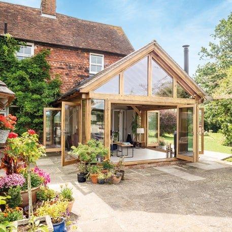 Oak framed garden room with glazed gable