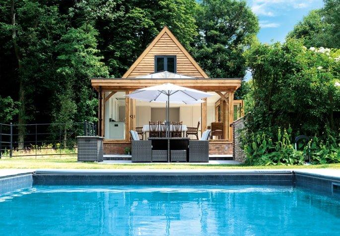 Oak framed orangery pool building