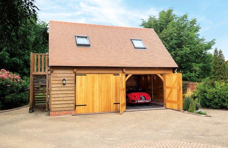 Oak framed classic car garage