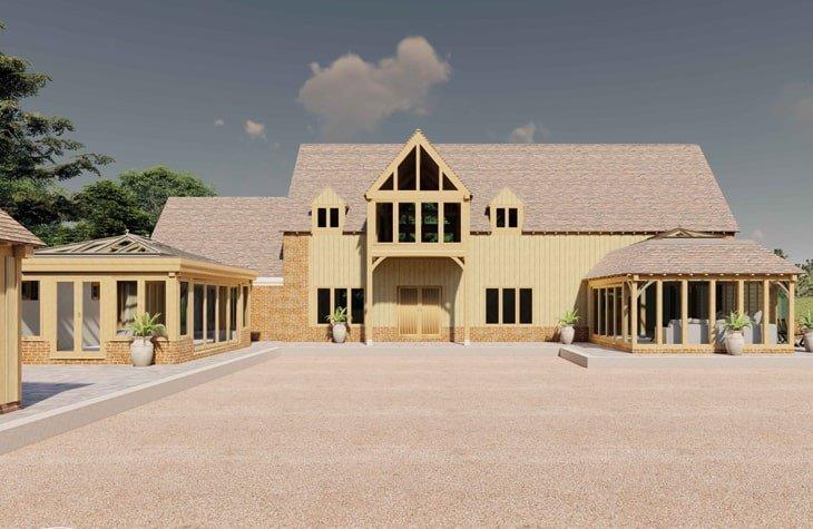 Oak framed show site visual