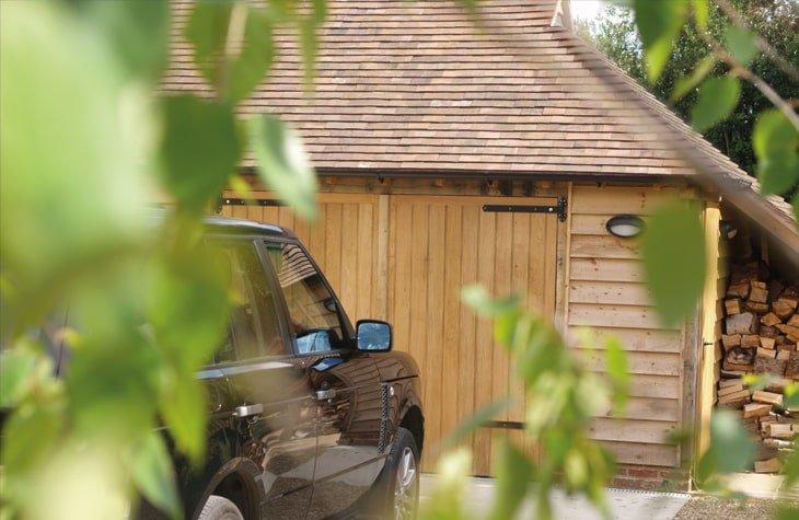 Oak framed garage cameo